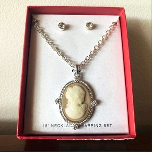 3/$15 – Silver Tone Cameo Necklace + Earring Set